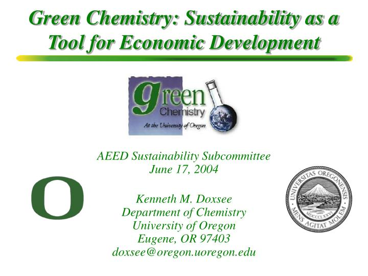 green chemistry sustainability as a tool for economic development n.