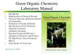 green organic chemistry laboratory manual