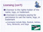 licensing con t