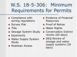 w s 18 5 306 minimum requirements for permits