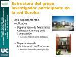 estructura del grupo investigador participante en la red eureka