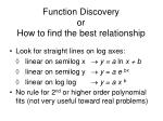 function discovery or how to find the best relationship