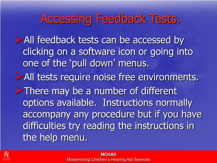 Accessing Feedback Tests.