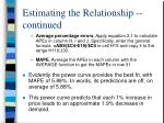 estimating the relationship continued6