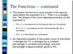 the functions continued