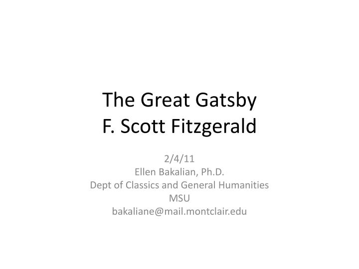 the great gatsby f scott fitzgerald n.