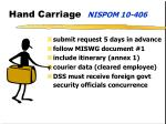 hand carriage nispom 10 406