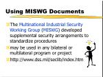 using miswg documents