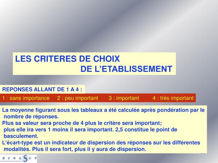 LES CRITERES DE CHOIX
