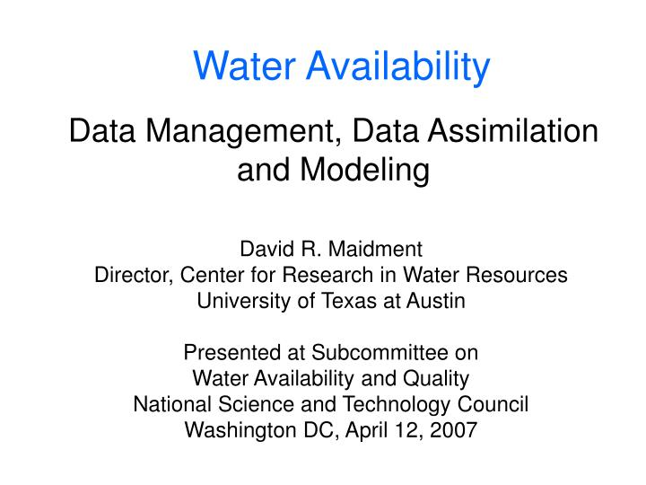 data management data assimilation and modeling n.