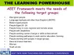 aeet framework meets the needs of the following target groups