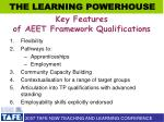 key features of aeet framework qualifications
