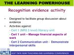 recognition evidence activity