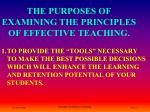 the purposes of examining the principles of effective teaching
