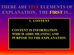 there are five elements of explanation the first is