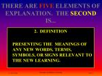 there are five elements of explanation the second is