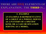 there are five elements of explanation the third is