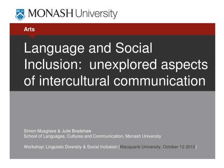 language and social inclusion unexplored aspects of intercultural communication n.