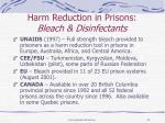 harm reduction in prisons bleach disinfectants