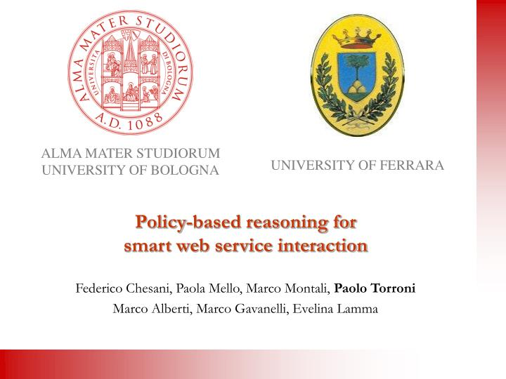 policy based reasoning for smart web service interaction n.