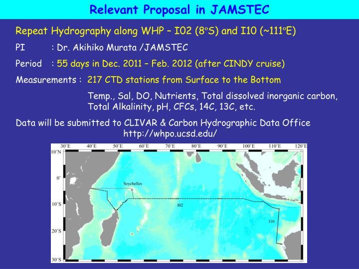 Relevant Proposal in JAMSTEC