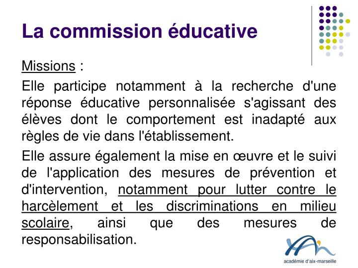La commission éducative
