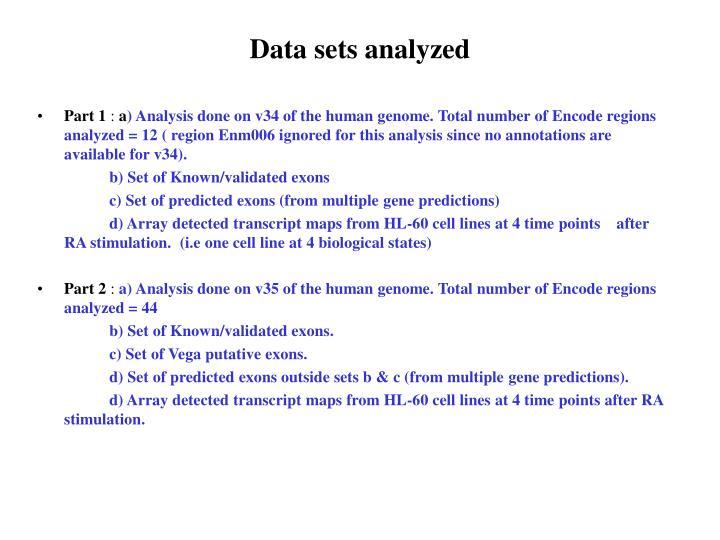 Data sets analyzed