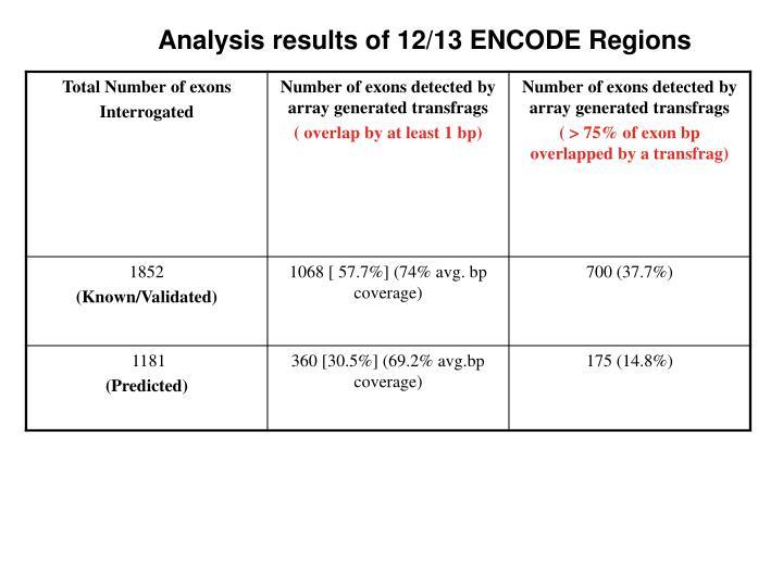 Analysis results of 12/13 ENCODE Regions