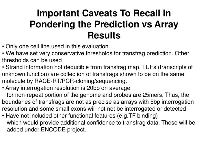 Important Caveats To Recall In