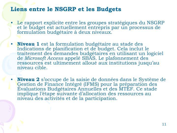 Liens entre le NSGRP et les Budgets