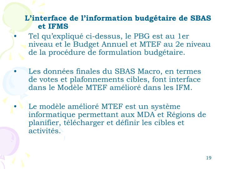 L'interface de l'information budgétaire de SBAS et IFMS
