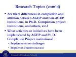 research topics cont d