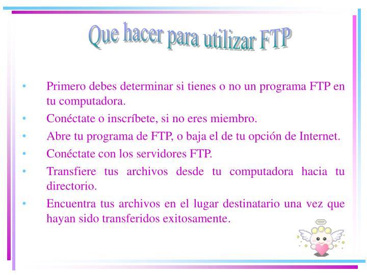 Que hacer para utilizar FTP