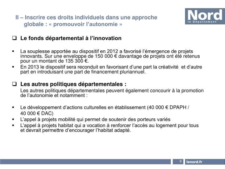Le fonds départemental à l'innovation