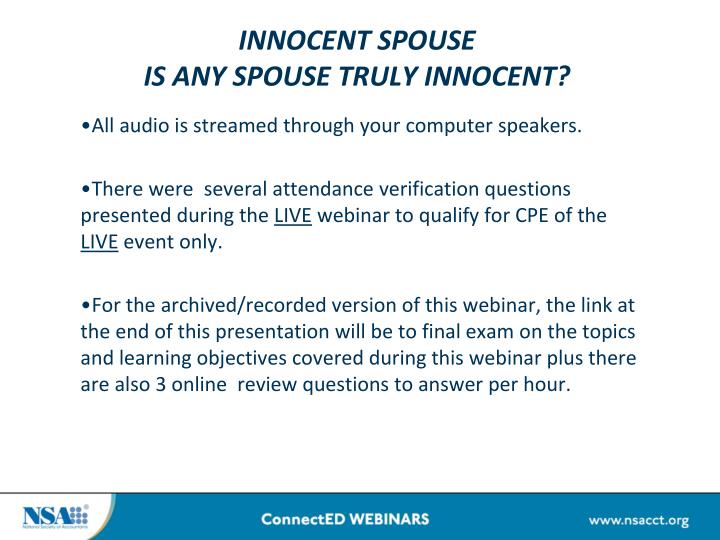 innocent spouse is any spouse truly innocent n.