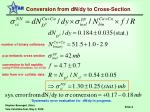conversion from dn dy to cross section