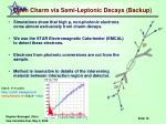 open charm via semi leptonic decays backup