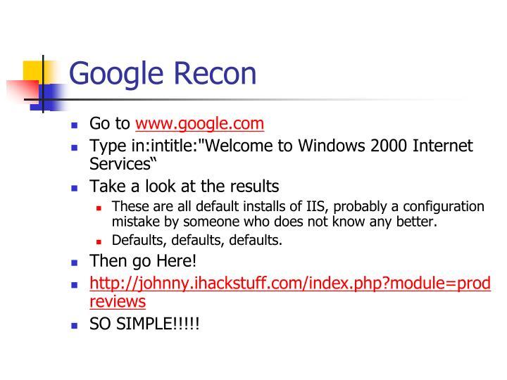 Google Recon