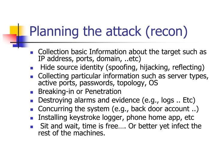 Planning the attack (recon)