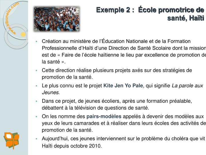Exemple 2 :  École promotrice de santé, Haïti