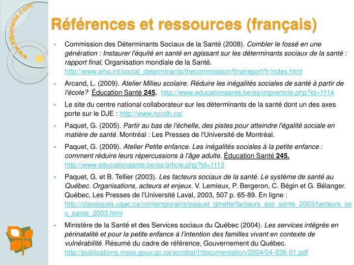 Références et ressources (français)