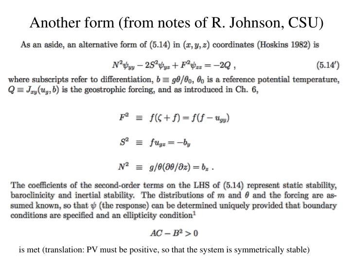 Another form (from notes of R. Johnson, CSU)