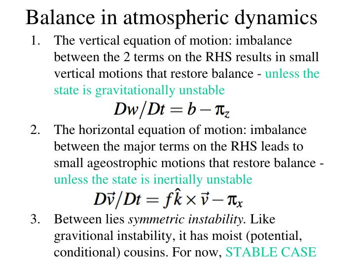 Balance in atmospheric dynamics