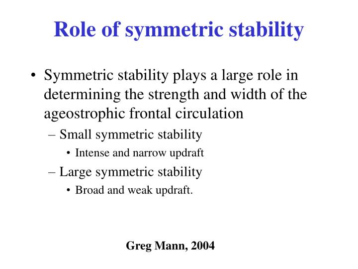 Role of symmetric stability