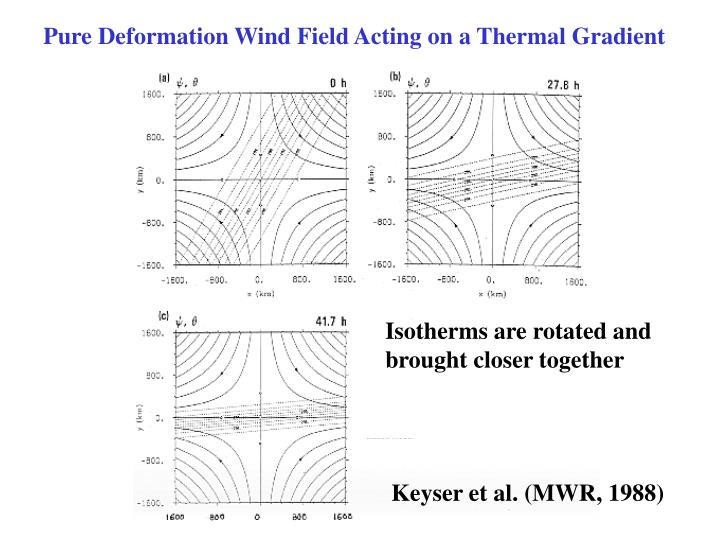 Pure Deformation Wind Field Acting on a Thermal Gradient