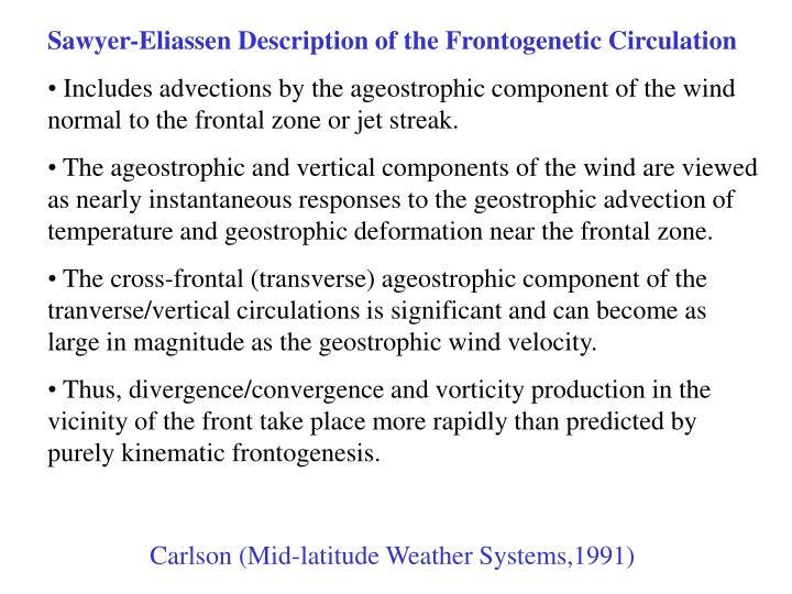 Sawyer-Eliassen Description of the Frontogenetic Circulation