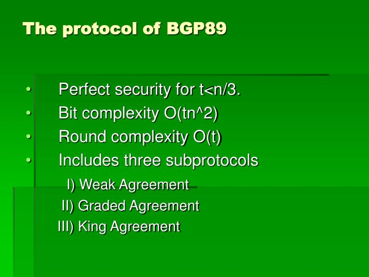 The protocol of BGP89