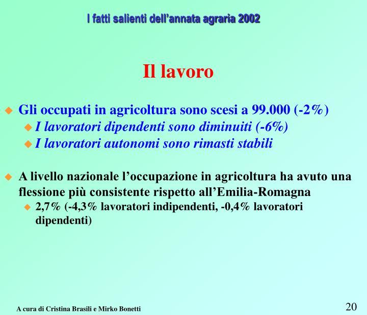 I fatti salienti dell'annata agraria 2002