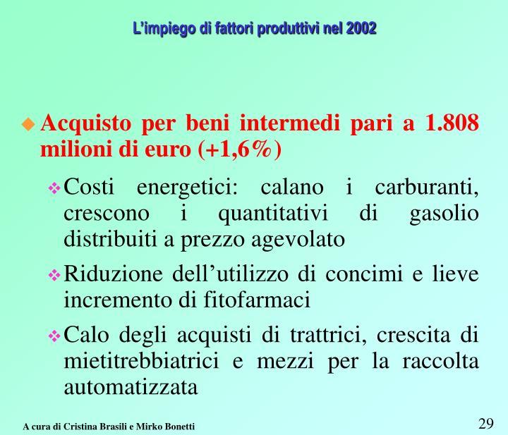 L'impiego di fattori produttivi nel 2002