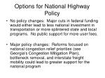 options for national highway policy